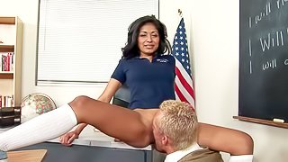 sexy schoolgirl Ruby Rayes feels free spreading her legs for her teacher. He gives her hot pussy a lick. He really enjoys his delicious pussy